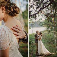 эко-свадьба, закатный свет, рустик, свадьба в лесу
