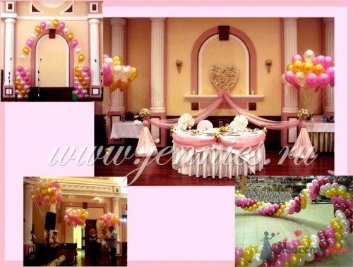 Оформление банкетного зала цветами, тканями и воздушными шарами