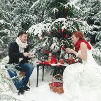 Сказочная свадьба. Фотосессия в лесу. Красный. Белый.