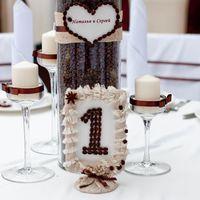Кофейная свадьба композиция с корилусом свечи