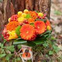 оранжевый букет невесты герберы