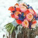 оранжевый синий букет с орхидеей дендробиум