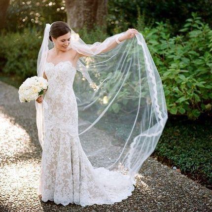 Свадебная фата однослойная
