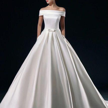 Атласное свадебное платье, арт. А1088