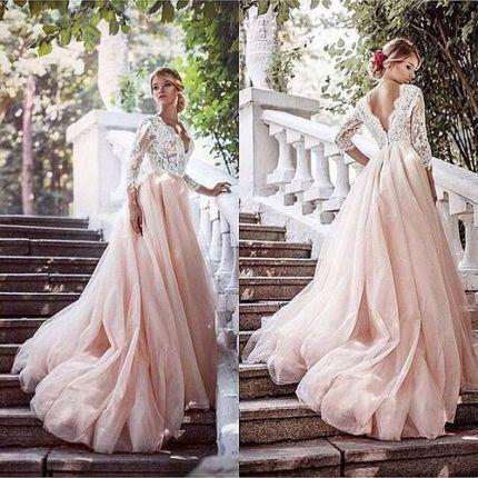 Платье цвета пудра со шлейфом А1879
