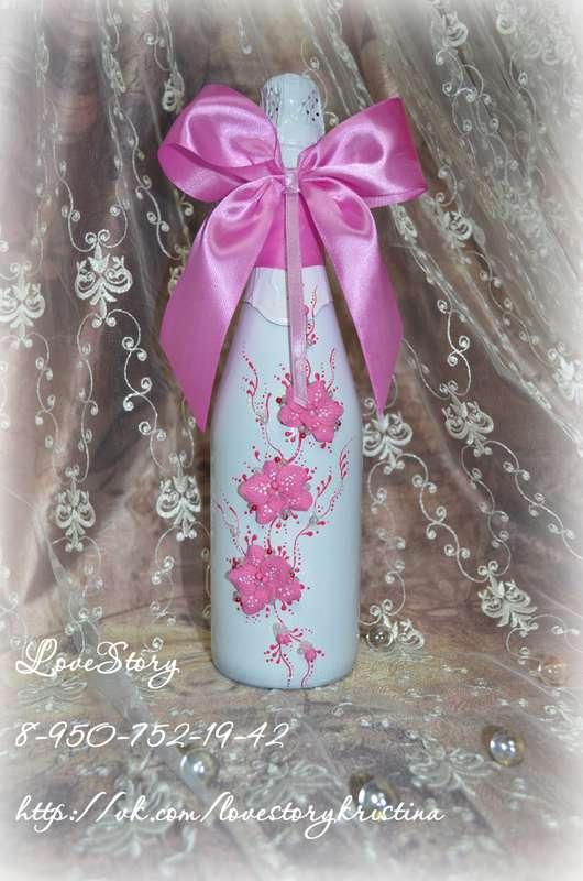 """Шампанское из набора """"Пленительная орхидея"""" в розовом цвете - фото 4423383 Студия аксессуаров Кристины Тишковой"""