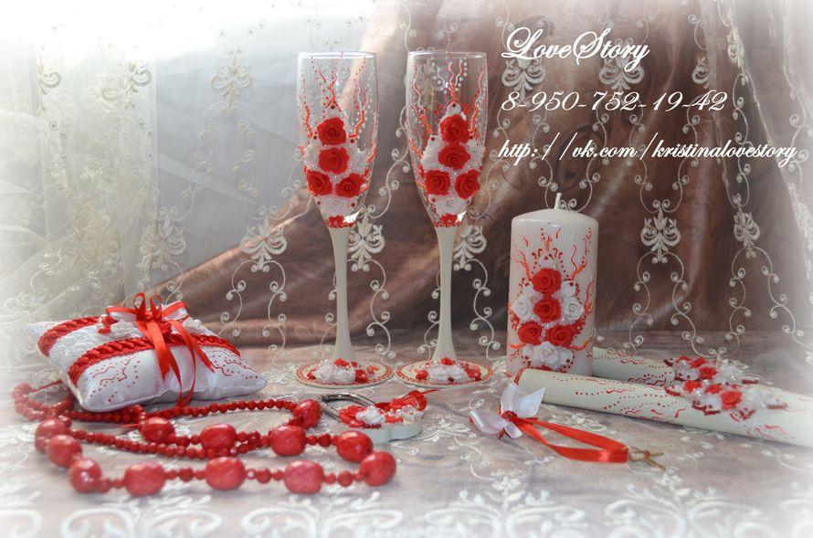 """Набор свадебных аксессуаров """"Роза"""" в красном цвете - фото 4425591 Студия аксессуаров Кристины Тишковой"""