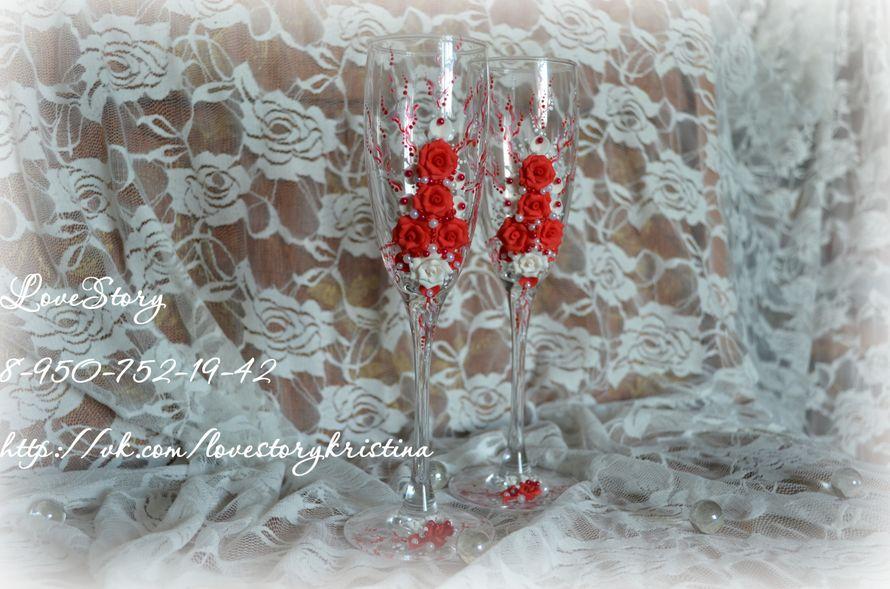 """Бокалы из коллекции """"Роза"""" в красном цвете - фото 4425601 Студия аксессуаров Кристины Тишковой"""