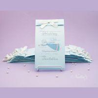 Нежно-голубое свадебное приглашение с ангелом.
