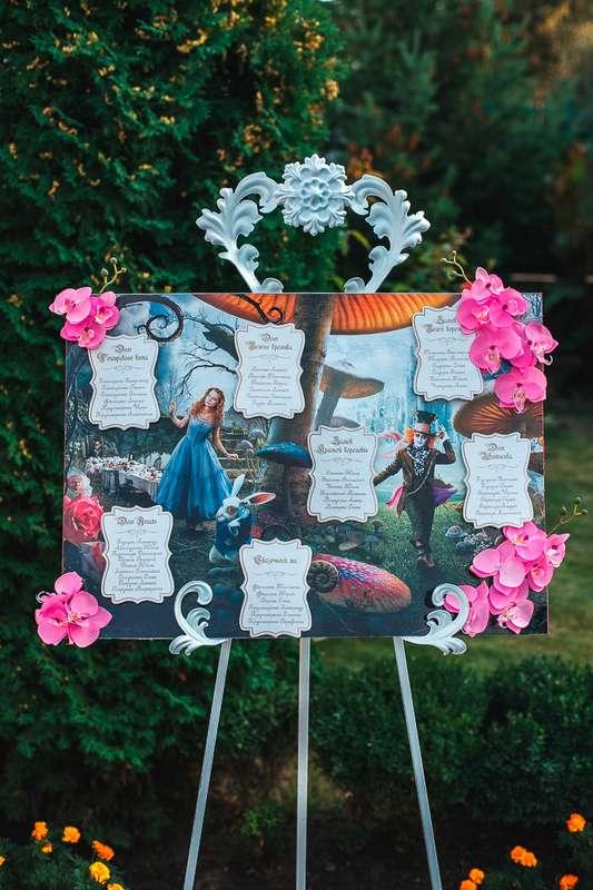 План рассадки гостей на свадебном банкете в виде карточек с номерами столов и именами гостей, оформленный на фоне картины - фото 1632727 Jolly Dаy - свадебное агентство