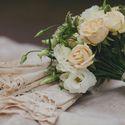 букет невесты, зонтик, кремовый, бежевый