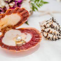 Ракушка гребешок с кольцами для свадьбы в морском стиле