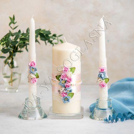 """Свадебные свечи ручной работы """"Шебби Шик"""""""