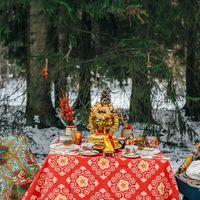 декор зимней свадьбы в русском стиле