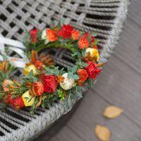 Теплая и яркая свадебная история золотой осенью. Венок для невесты