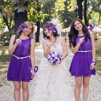 Невеста и подружки в сиреневых платьях в парке