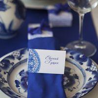 сине-белое оформление свадебного стола