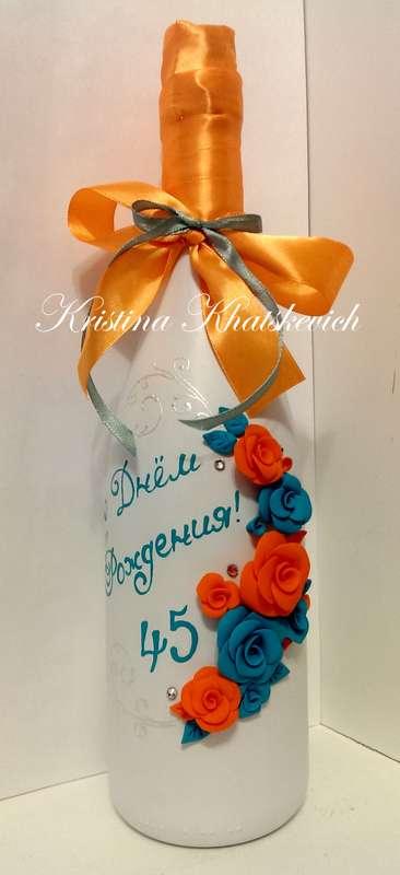 """Декор шампанского """"В лазурно-мандариновом цвете"""" - фото 2257462 Кристина Хацкевич - свадебный декоратор"""