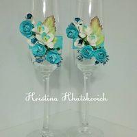 """Свадебные бокалы """"В цвете бирюза"""""""