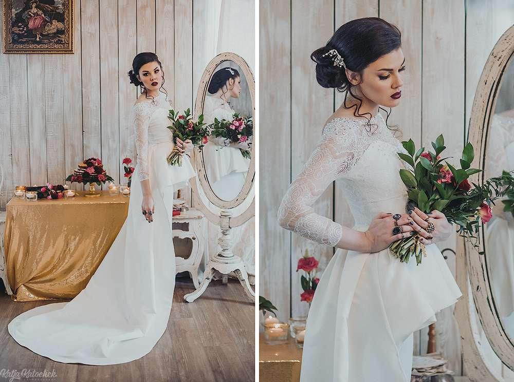 невеста, низкий пучок, украшения ручной работы, золото, богемный стиль - фото 4787521 Стилист-визажист Катрина Петренко