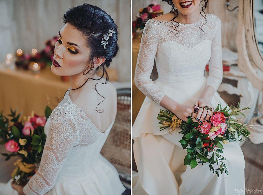 невеста, низкий пучок, украшения ручной работы, золото, богемный стиль - фото 4787525 Стилист-визажист Катрина Петренко
