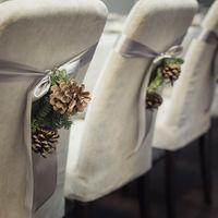 Зимняя свадьба, серая свадьба, шишки.  рустик