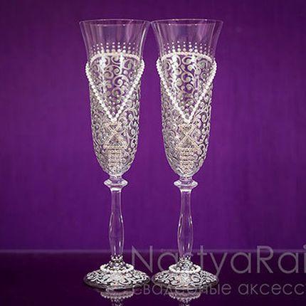 Бокалы для шампанского свадебные серебряные