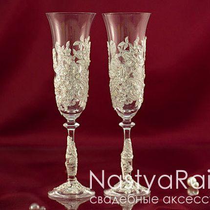 Свадебные бокалы с кружевом айвори