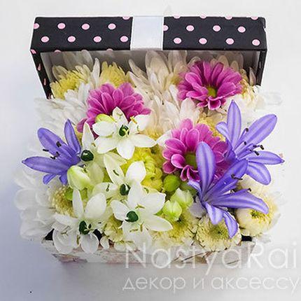 Коробочка для колец с живыми цветами