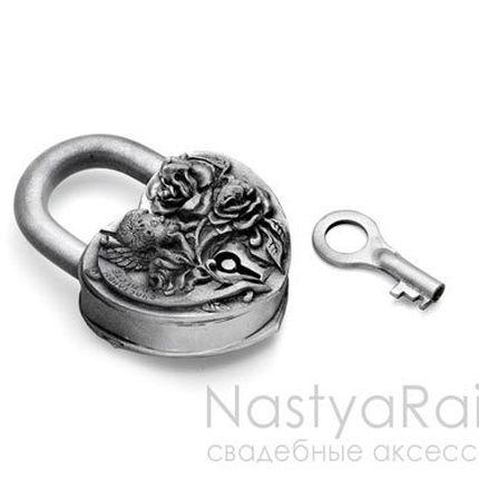 """Свадебный замочек """"Ангел"""" античное серебро"""