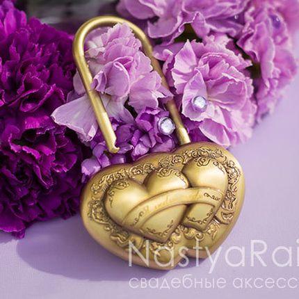 Замочек любви - два сердца, античное золото