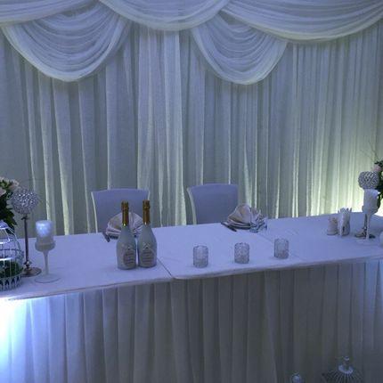 Оформление тканью свадебного зала