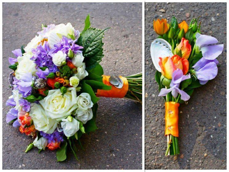 Букет невесты для свадьбы в гавайском стиле, букет заказать москве