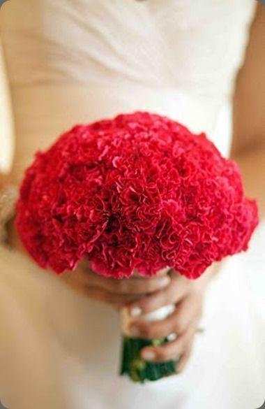 Красный букет невесты из гвоздик купить, каширская фанфан тюльпан