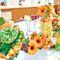 Цветы оранжево - зеленого цветы на президиуме (Апельсиновый декор)