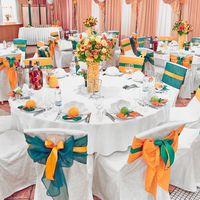 Декор столов и стульев, оранжевого цвета (Апельсиновый декор)
