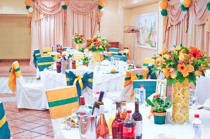 Декор столов для гостей (Апельсиновый декор)