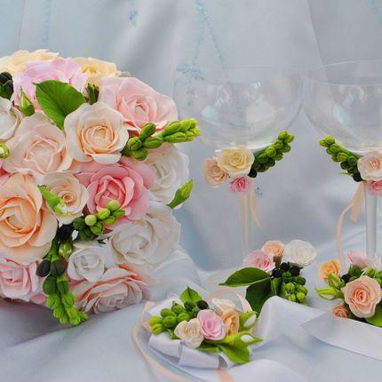 """Свадебный набор ручной работы """"Нежность"""""""