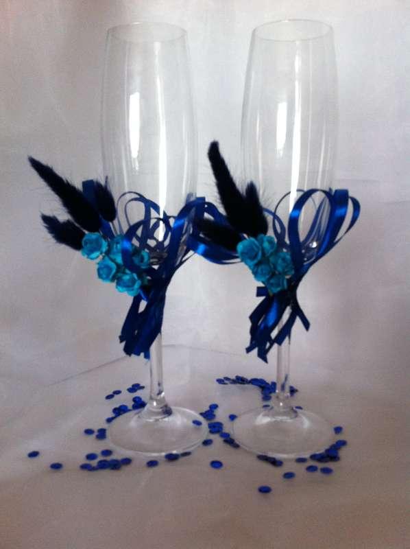 Бокалы в синем цвете с использованием сухоцветов - фото 2693493 Мастерская аксессуаров БиС