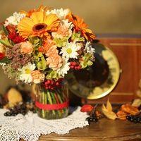 Осенний букет невесты в желтой гамме из гербер и альстромерий