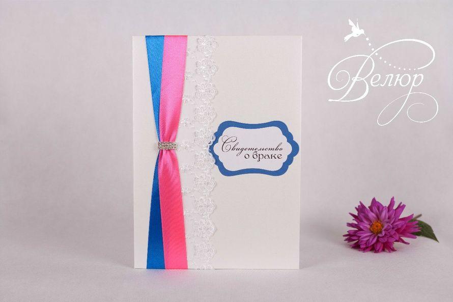 """Папка для свидетельства о бракосочетании (формат А4) - фото 5689946 """"Велюр"""" - приглашения, свадебные аксессуары"""