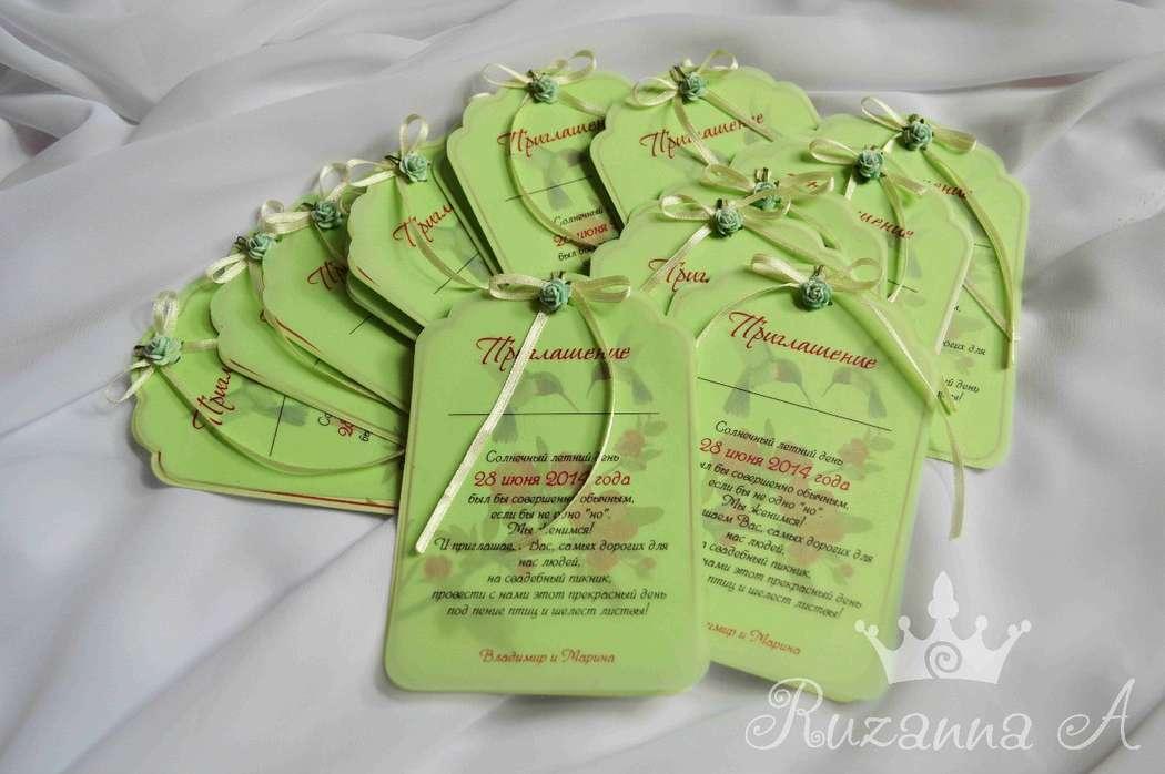 """Приглашения на летнюю свадьбу на открытом воздухе! Нежный мятный картон, калька и фигурная резка. 90руб/шт, минимальный заказ- 15шт - фото 5690062 """"Велюр"""" - приглашения, свадебные аксессуары"""