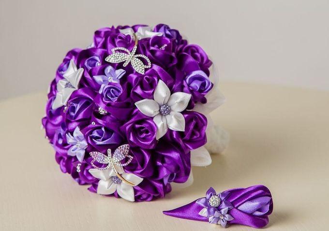 Букеты для невест из атласных лент своими руками