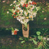 Осенний рустикальный букет невесты из ромашек