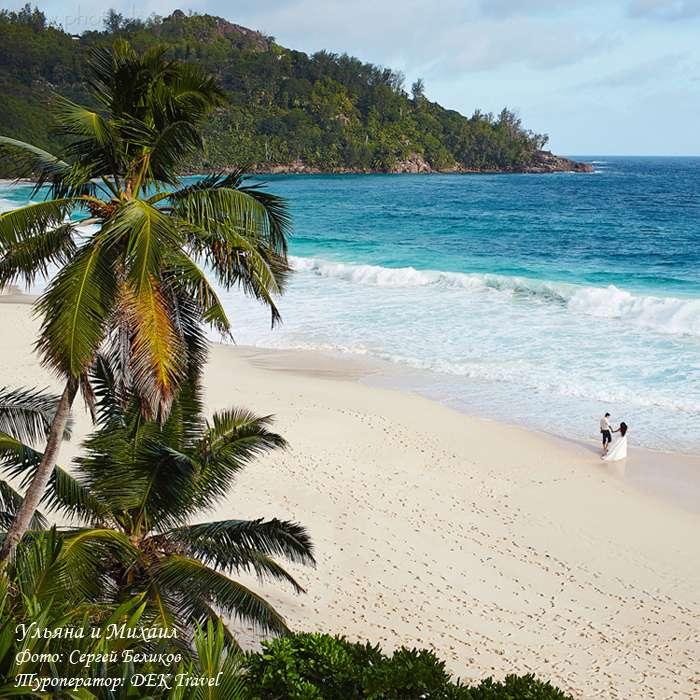 На пляже стоят на берегу жених и невеста, среди пальм, она в белом, длинном платье, он в белой рубашке и черных брюках - фото 2771713 Dek Travel - свадьба на Сейшелах и Маврикии