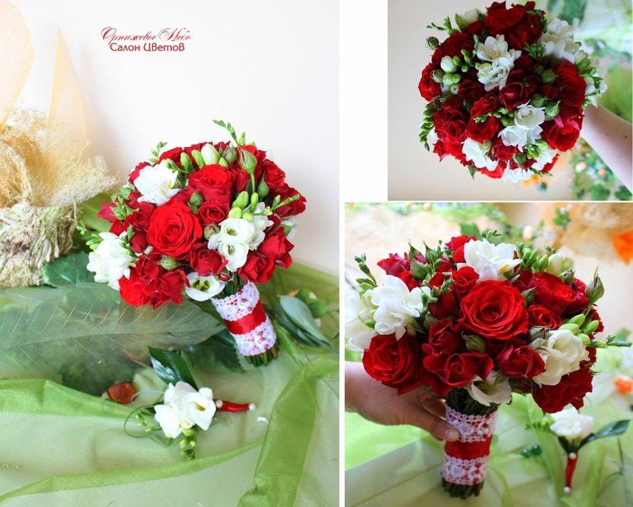 Яркий Букет Невесты из бархатной красной кустовой розы и ароматной фрезии! - фото 2838569 Студия флористики и декора Оранжевое Небо