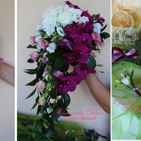 Каскадный букет Невесты с крупными ветками орхидеи Фаленопсис