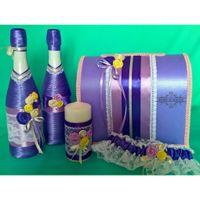 Свадебные аксессуары в фиолетово-лиловом цвете