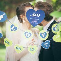 Табличка на свадьбу с инициалами жениха и невесты для фотосесии