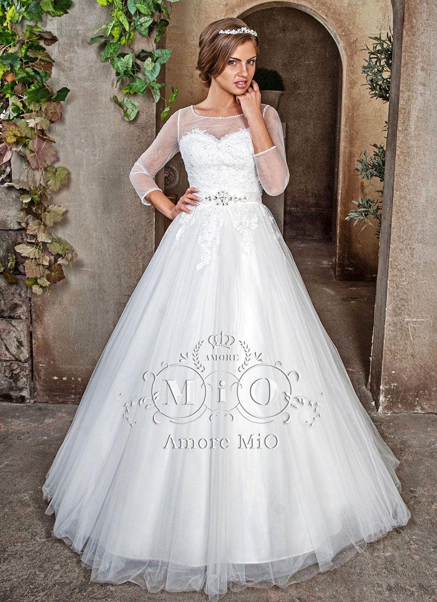 """Пышное платье с сатиновой подкладкой и кружевным закрытым верхом с длинными рукавами, на талии пояс из страз  - фото 2973067 Салон свадебной и вечерней моды """"Белый Танец"""""""